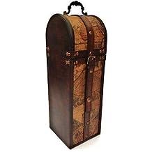 Día de los Padres de época colonial de Atlas Mapa de vino del diseño del sostenedor de botella de almacenamiento de madera caja de regalo