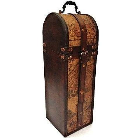 Día de los Padres de época colonial de Atlas Mapa de vino del diseño del sostenedor de botella de almacenamiento de madera caja de