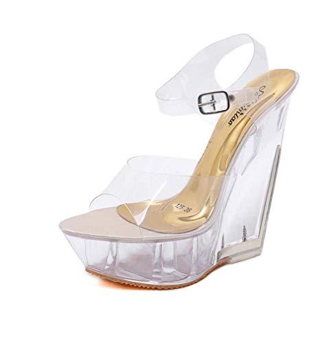 Damen Transparent Klar High Heels Plateau Kleid Sandale, für Damen Pole Dance Pumps Sandale Stripper Schuhe,Gold,36EU