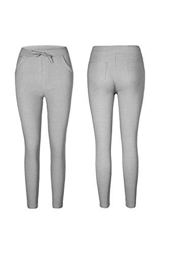 YACUN Le Donne Si Bodycon Pantaloni Elasticizzati Matita Caviglia Leggings Grey