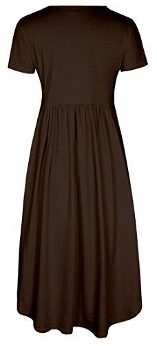 [AUSVERKAUF++++] ELFIN Sommerkleider Damen Kurzarm V-Ausschnitt Blumen StrandKleid MaxiKleider Abendkleid Knielang Kaffee