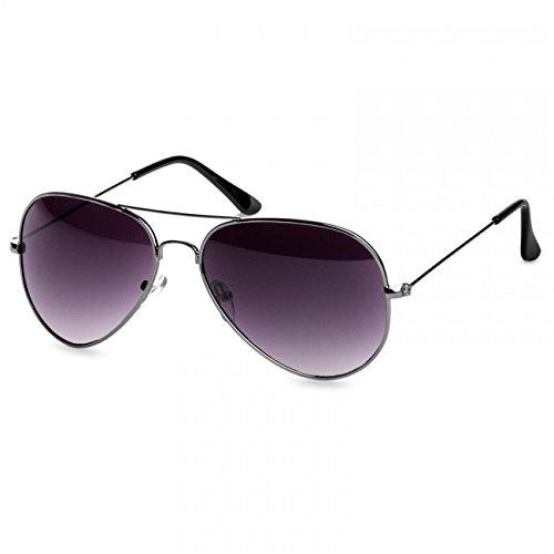 Caspar SG032 Unisex Classic RETRO Design Pilotenbrille Sonnenbrille, Farbe:silber/schwarz getönt