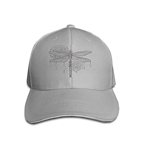 Xunulyn Classic Unisex Baseball Cap Adjustable Black Dragonfly aeschna viridls Peonies Design Isolated White Background Sketch Coloring Books -