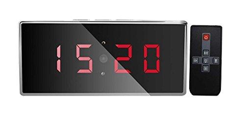 1080p Spionage-Kamera in Tisch-Uhr, Wecker,Spiegel Spionage Digitaluhr mit Bewegungserkennung Mini-Kamera mit 5m Nachtsicht Reichweite, Spy-Cam mit 140° Linse und Bewegungserkennung , unauffällige getarnte Überwachungskamera, Wanze mit Micro SD Speicher. Separate Tonaufnahme ( ohne Videos) und manuelle Fotos