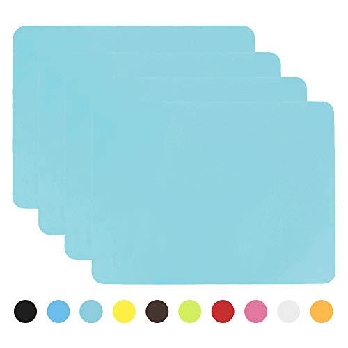 Aspire Épaissir napperons en silicone antidérapant Couper les tapis chauds Dessous de plat 4 pièces Bleu clair