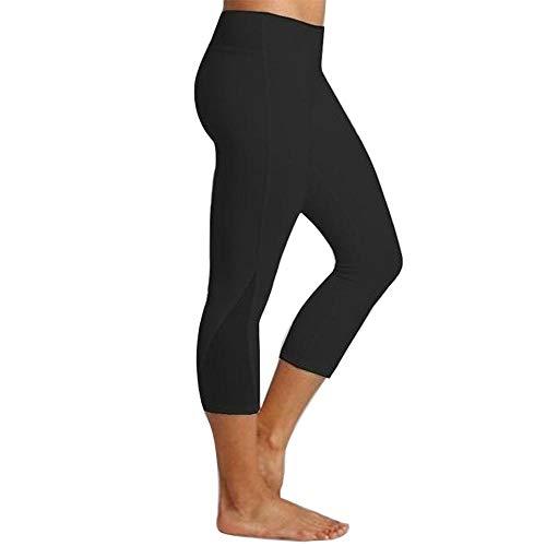 Baumwolle Spandex Leggings (YEBIRAL Yoga Leggings Damen Capri Leggings 3/4 Sport Hose Stretch Workout Fitness Hohe Taille Jogginghose(L,Schwarz))