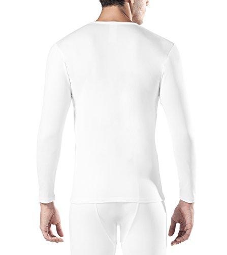 Lapasa Herren 2er Pack Innenfleece Thermounterwäsche - LEICHT & WARM - Ski Thermounterhemden Snowboard Thermooberteile für Winter Langarm Thermo - Hemd M09 Weiß