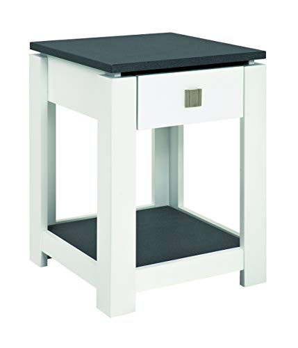 Haku Moebel 42566 Console MDF, Optique Granit/Blanc, 40x40x55 cm