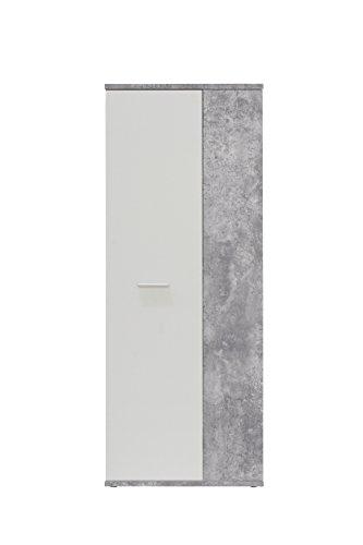 NEWFACE  Schuhschrank, Holz, beton + Weiß, 68.90 x 34.79 x 179.1 cm -