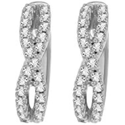 Pave Prive-Anello da donna in oro bianco 14 k con diamanti bianchi rotondi piccoli orecchini a cerchio con Criss Cross - Diamante Criss Cross Anello
