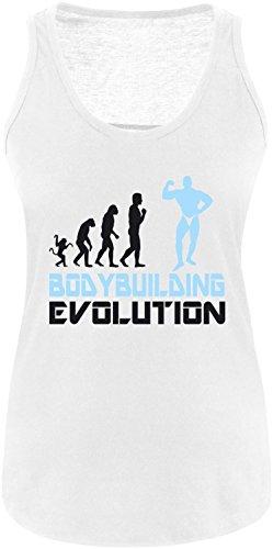 EZYshirt® Bodybuilding Evolution Damen Tanktop Weiss/Schwarz/Hellbl