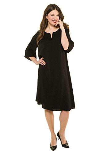 oße Größen bis 62+ | Kleid mit Volant | langer Raglan-Halbarm | Leichte A-Line | Rundhalsausschnitt | schwarz 62/64 716128 10-62+ (Klassisches Kleid Bis)