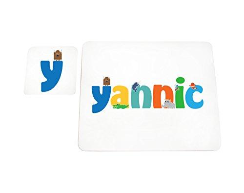 Little Helper Yannic de Coast erandpl acemat de 15de personnalisée, fille nom et dessous de 4 sets de table avec finition brillant, Yannic