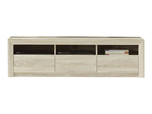trendteam smart living Wohnzimmer Lowboard Fernsehschrank Fernsehtisch Sevilla, 164 x 46 x 48 cm in Eiche Sägerau Hell Dekor mit drei offenen Fächer und drei Schubkästen