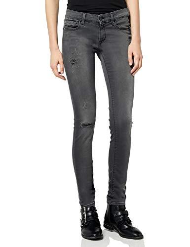 Distressed Denim Bootcut Jeans (Replay Damen LUZ Hyperflex Skinny Jeans, Grau (Dark Grey Denim 10), W30/L34 (Herstellergröße: 30))