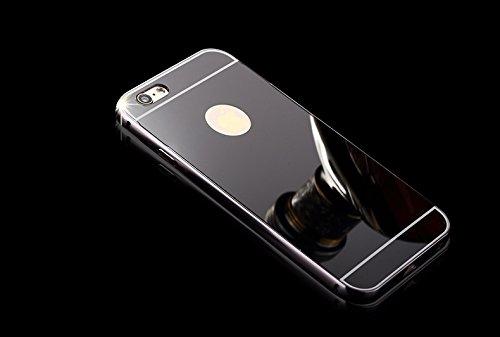 Minto Luxus Aluminium Metall Spiegelhülle Schutzhülle + Panzerglasfolie iPhone 5 / 5S / SE Spiegel PC Rückseite Case Cover Hülle Gold + Metall Bumper Rahmen Echtglas Hartglas Schutzfolie 9H Schwarz -i6
