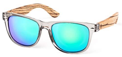 Bexxwell Sonnenbrille mit Echtholz-Bügeln, handgefertigt, UV-Schutz, polarisiert (Holz, Wood) (Transparent/Grün und Holz hell)