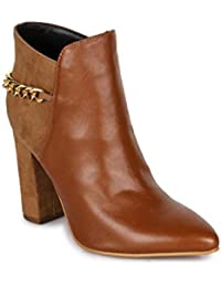 Bruno Manetti Women Faux Leather Camel Heel Boots