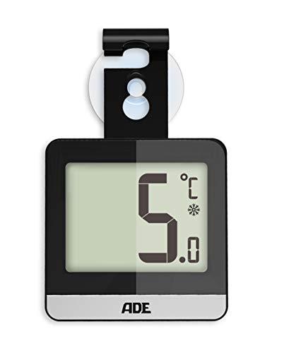 ADE Digitales Kühlschrankthermometer WS 1832 (Thermometer für Kühlschrank oder Gefrierschrank mit Standfuß, Magnet, Saugnapf und Haken) schwarz - Gefrierschrank Kühlschrank Schwarz