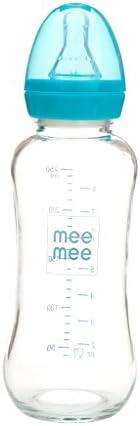 Mee Mee 240ml Premium Glass Feeding Bottle (Blue)