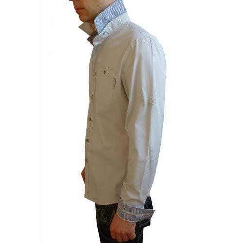 CLAVIN Klein Jeans Chemise Homme New Stretch Pop Creme