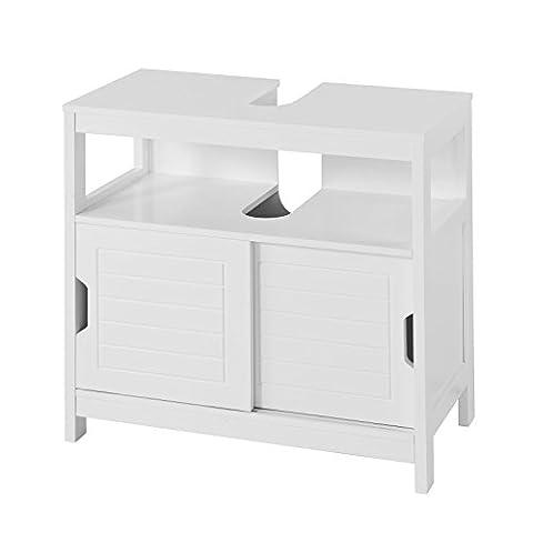 SoBuy® FRG128-W Meuble Sous-Lavabo Meuble de Salle de Bain Vasque - 1 étage et 2 Portes coulissantes -Blanc