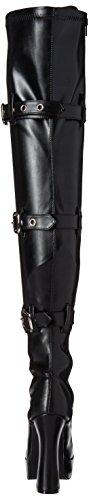 Pleaser ELECTRA-3028, Damen Over-Knee Stiefel Blk Str Faux Leather/Blk Matte