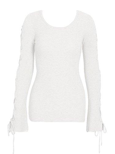 les femmes simplee dentelle nervuré en petite taille pull - over pull haut de tricot Beige
