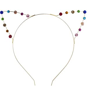 Lux Accessories Haarreif mit Katzenohren und mehrfarbigen Schmucksteinen, gold- und regenbogenfarben