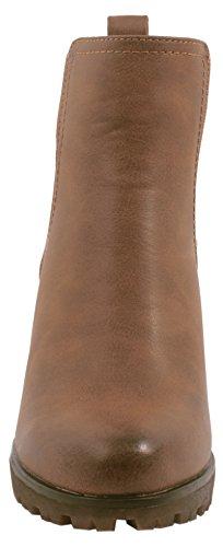 Elara Ankle Boots | Trendige Damen Stiefeletten | Blockabsatz Plateau | Chunkyrayan Khaki 38 - 3
