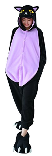 Honeystore Jumpsuit Tier Cartoon Fasching Halloween Kostüm Sleepsuit Cosplay Mitternacht Katze Pyjama Schlafanzug Erwachsene Unisex Tier Onesize S