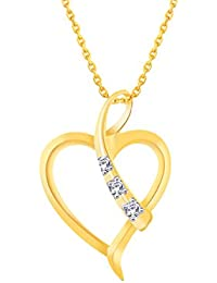 Silvernshine 1/20 Ct Diamond Tilted Heart Pendant Necklace 14k Yellow Gold Fn .925 Sterling