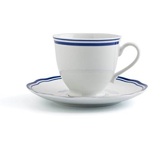 Bidasoa Baroque Line - Set de 2 tazas de té con platillo, 20 cl, porcelana, color blanco y azul