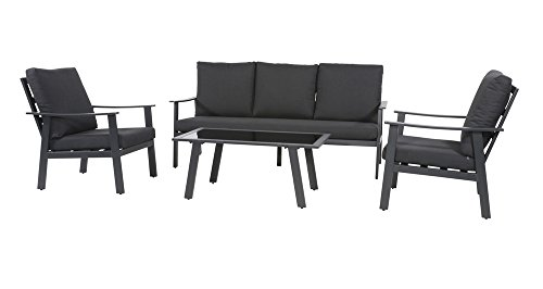 Lesli Living 4tlg Loungeset Bacardi Loungegarnitur Sitzgarnitur Gartenset Loungeset Outdoor-Lounge Gartenmöbelset aus Aluminium anthrazit