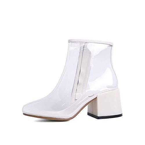 Oudan Transparente Stiefeletten für Damen - Mode Sexy Stiefel mit Dicken PVC Transparenten Kristall High Heels (Farbe : Transparent, Größe : 39) (Botas De Mujer Altas)