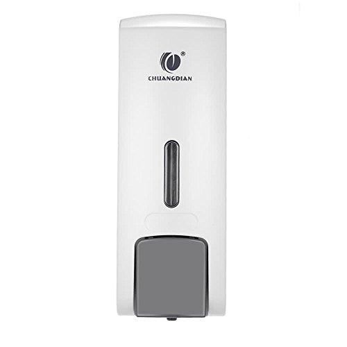 Micowin Dispensador de Jabón, CHUANGDIAN 300ml Dispensador de Jabón Manual para Manos Dispensador de Jabón Líquido para Ducha Doble en la Pared con dispensador de Manos (Blanco)