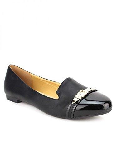 Cendriyon, Ballerine Noire Bi Matière CINKMA Chaussures Femme Noir