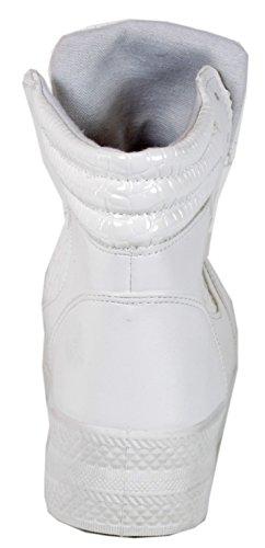 Trendboutique Waydla - Sneaker Da Donna Con Plateau In Serpente Croco In Pitone Optical Lace Up Scarpe Sportive Alto 36 36 38 39 40 41 Bianco