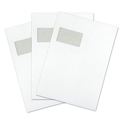 versando 100 Faltentaschen Versandtaschen DIN C4 (229 x 324 mm) weiß 2cm Falte mit Fenster