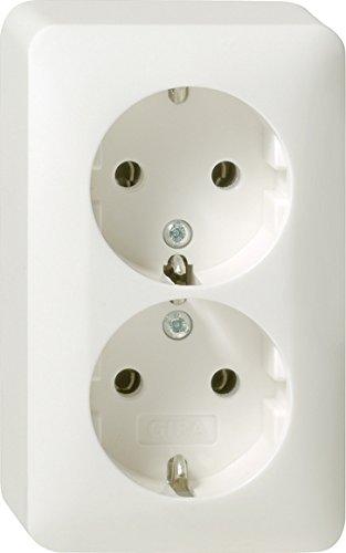 Preisvergleich Produktbild Gira 078013 Doppel Schuko Steckdose Aufputz , reinweiß