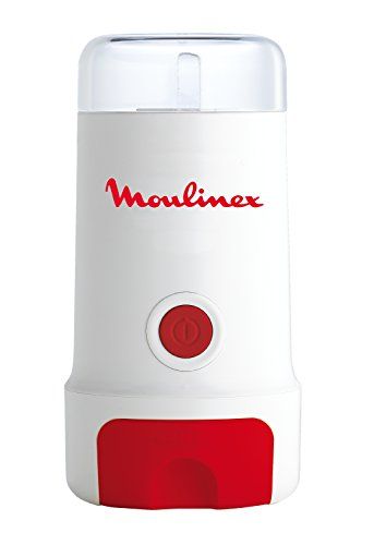 Moulinex MC3 MC300132-Molinillo de café, Color Blanco, 180 W, Acero Inoxidable, plástico, Rojo, Color Blanco