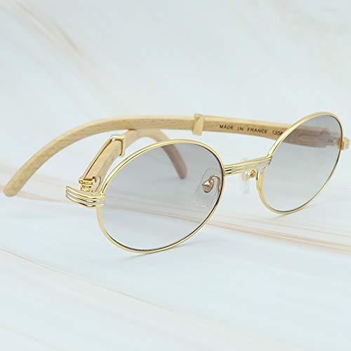 LKVNHP Hochwertige Holz Sonnenbrille Herren Lesen Sonnenbrille Sonnenbrille Für Frauen Carter Brille Weiß Holz SchattenGold Verlauf Grau