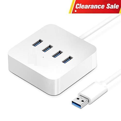 ZYX USB 3.0 Hub 4 Ports High Speed 5 Gbps USB Splitter mit Power-Lade-Schnittstelle Für Windows Mac Linux Laptop PC USB Hubs,White,0.5M