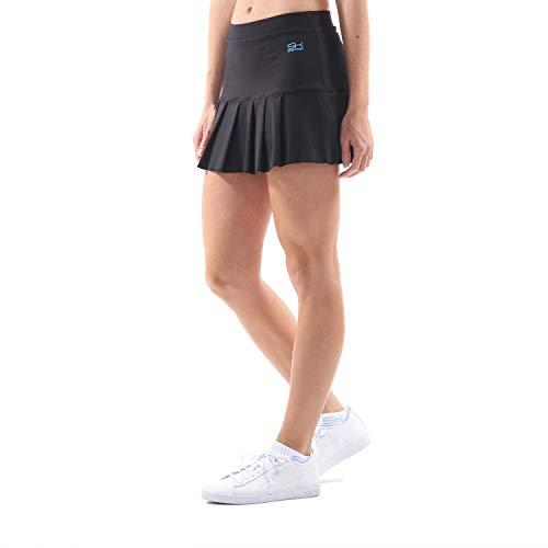 Sportkind Mädchen & Damen Tennis/Hockey/Golf Faltenrock mit Innenhose, schwarz, Gr. M