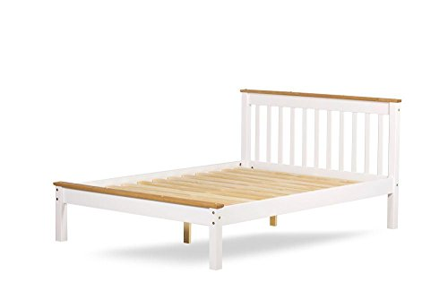 Happy Beds Derby White Finish Wooden Pine Bed Furniture Bedroom with Flex 1000 Orthopaedic Mattress 5' King Size 150 x 200 cm
