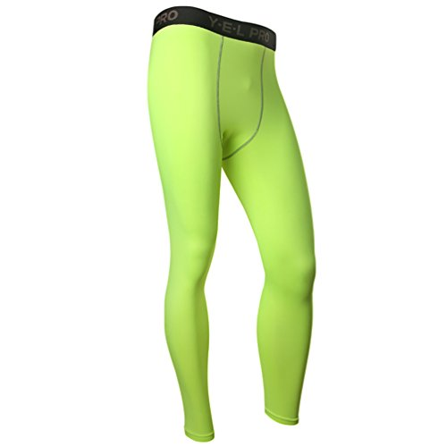 YiJee Herren Elastisch Schlank Kompressionshose Fitness Jogging Hose Leggings Grün XL (Körper Kompressionskleidung)