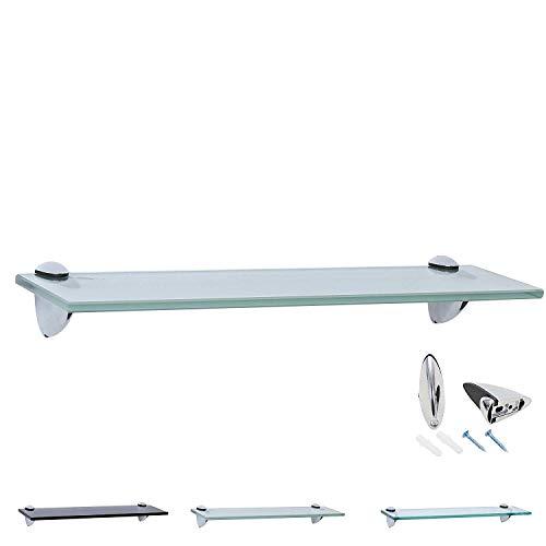 Rapid Teck Glas Wandregal Michglas Weiß Matt 80cm x 20cm - Glasregal mit 8mm ESG Sicherheitsglas - Glasregal perfekt als Badablage Glasablage für Badezimmer - Verschiedene Größen wählbar