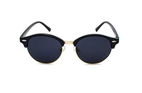 WSKPE Sonnenbrille,Halbe Rahmen Cat Eye Männer Sonnenbrille Polarisierte Spiegel Sonnenbrille Frauen Männer Miding Schattierungen Brillen Uv400 Schwarz Gold Frame Graue Linse
