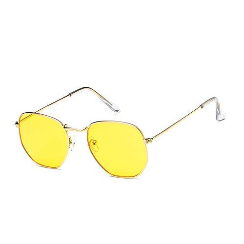 SUNGLASSES New Big Box Metall Sonnenbrille Männer Und Frauen Mode Sonnenbrillen Persönlichkeit Bunte Gläser Retro Sonnenbrille Flut (Farbe : Gold Frame Yellow Film)