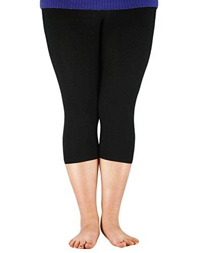 Azue Frauen Groß Größe Capri Leggins für Damen Üvergröße Bambus Faser 3/4 Modal Hose Basic Legging Mehrfarbig Gamaschen Schwarz XL (Etikettgröße: 3XL) (Leggings Capri Xl Schwarze)